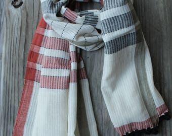 Khadi Scarf, Summer Scarf, Handwoven Scarf, Gifts for her, Organic Cotton Scarf, Pom Pom Scarf, Khadi Wrap, White Cotton Scarf, Plaid Scarf
