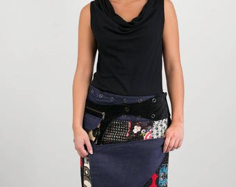 Reversible Cotton Skirt Denim Patch Print Black Velvetl Detachable Pocket Long Length