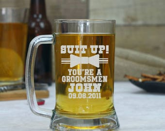 Set of 3, Groomsmen Beer Glasses, Personalized Beer Mug, Gift for Groomsmen, Beer Glasses, Custom Beer Glass, Best Man Mug