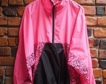 Women's 80s Fluorescent Pink And Black Novelty Print Patterned Windbreaker Jacket Coat Size Medium