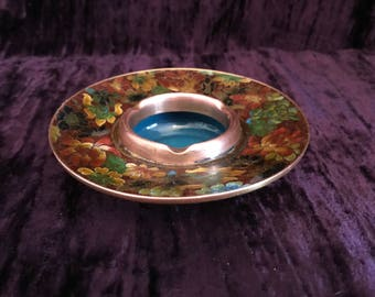 Mid Century Copper Cloisonné Floral Ashtray