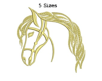 Horse head 5sizes Digitized Machine Embroidery Design Digital Download