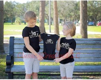 Big little middle little little little, Sibling shirts, Baby anouncement