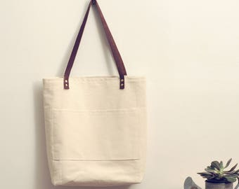 Canvas Carrier:  Tote Bag, Leather Handles, Pockets