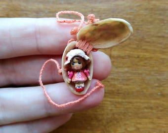"Pistachio Miss Mini OOAK Wooden Miniature 1.5cm 0.6"" Art Doll by Julia Arts"