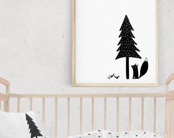 Kids Poster, Scandinavian Modern Nursery Decor, 16x20 Print, Monochrome Baby Art, Black and White Woodland Nursery Wall Art, Baby Room Decor