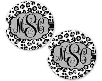 Personalized Monogrammed Car Coasters White Leopard Cheetah, Cup Holder Coaster, Monogram Gift, Gift for Her Sandstone Coaster