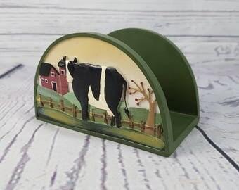 Vintage Resin Napkin Holder Dinner Ware Table Farmhouse Farm Cow Decor Kitchen Restaurant Diner Decor