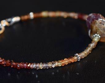 Adjustable Tundra and Umba Sapphire Bracelet~ Artisan Bracelet Sterling Silver~