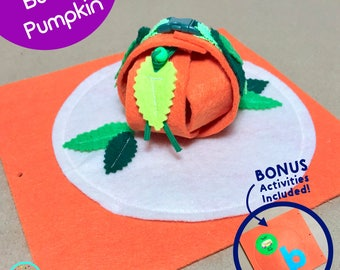 PopUP Pumpkin Buckle Page for TinyFeats Quiet Book - Button, Buckle and Snap Fine Motor Skills Activity - Felt Toy for Toddler and Preschool