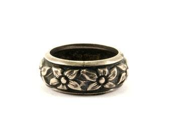 Vintage Flower Design Ring 925 Sterling RG 1872