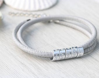 Women Graduate Gift - Personalized leather bracelet - For her - Graduate Jewelry - Inspirational Jewelry - Custom name bracelet - Friendship