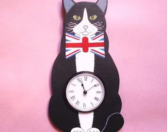 Tuxedo Cat Wall Clock With UK Bowtie