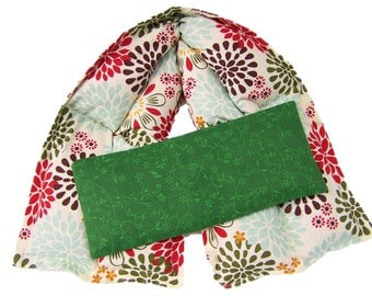 Hot cold neck pack, Microwave heating pad, Neck heating pad, Cream Color & Flowers Heated X-Wide Neck Wrap / Olive color Eye Pack