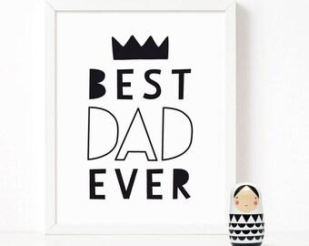 Best DAD Ever print, nursery printable wall art, Scandinavian print, nursery decor, nursery art, kids poster