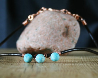Leather necklace, blue stone, wire wrapped copper,  leather cord, handmade, clasp, boho.