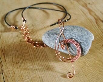 Treble clef necklace, treble clef pendant, copper necklace, music necklace, music pendant, wire wrapped, leather, music lovers necklace,