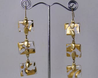 Reflections of Gold-3 hand painted rectangles of 24 Karat Gold on fused glass, that sway gently with any movenment-Gold hooks