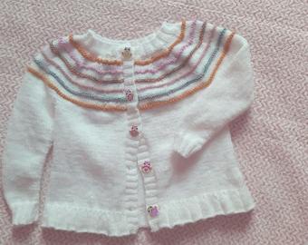 Hand knit kid cardigan / girl cardigan / BB Merino alpaca wool cardigan / kid sweater