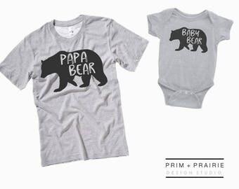 Papa Bear Shirt Set, Fathers Day Gift, Baby Bear Shirt, Fathers Day Shirt, Father Son shirts,Matching father son shirt set,First Fathers Day