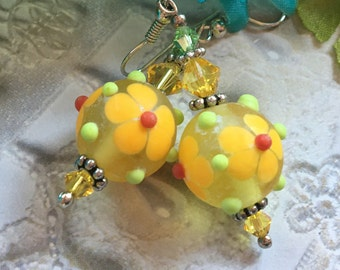SALE - Yellow Flower/Floral Earrings, Lampwork Jewelry, SRA  Lampwork Earrings, SRA Lampwork Jewelry, Gift, Gift For Her