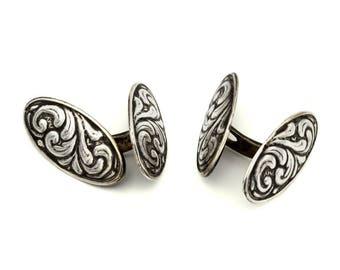 Rare Denmark Modernist Cufflinks, Johannes Bronee, 830 Silver CUFF LINKS, embossed Scroll Motif Cufflinks, Antique 1940s Danish Jewelry