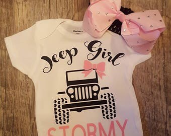 Jeep Girl Onesie or Tee - Any Color Onesie or Tee with Any Color Lettering - Super Cute ... Comes With FREE Bow!