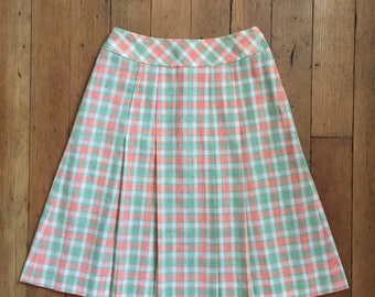 vintage 1960s mini skirt // 60s plaid mini skirt