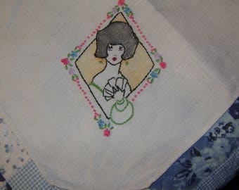 vintage Hand Embroidered FLAPPER Holding Cards and Purse with Multi Color Flowers LINRN Card Table BRIDGE Tablecloth