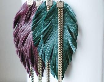Long Leather Earrings- Leather Earrings- Dangle Earrings- Recycled Earrings- Boho Earrings- Feather Earrings- Green Earrings- Dark Green