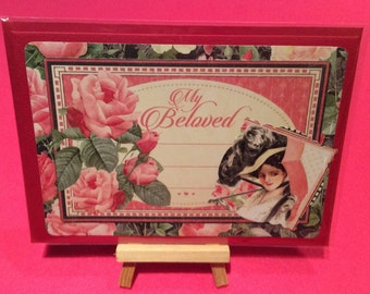 Vintage style valentines card- handmade romantic valentine greetings card - red roses, pink hearts -Valentine's Day