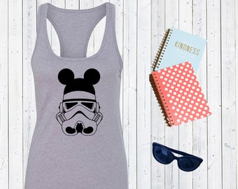 Stormtrooper Mickey Ears Tank. Disney Starwars Tank. Disneyland Tank Top. Cute Disney Tanks. Star wars tank. [E0736]