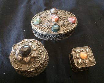 Vintage Set (B) of Three Filigree and Embossed Handmade Metal Trinket Boxes, Decorated with Cabochons - 1970
