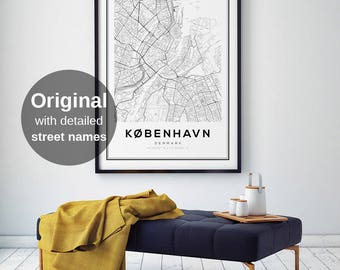 Copenhagen Map Print, Scandinavian Print, Black and White Map, Denmark Map Print, Copenhagen Map Poster, City Map Print, Affiche Scandinave