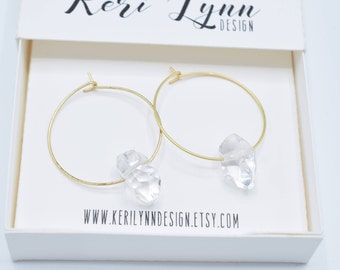 Crystal Drop Matte Gold Toned Hoops