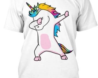 Dab Dabbing Unicorn LGBT Gay Pride Bi Trans Funny Cartoon Lover T Shirt Design Gift