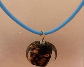 black foiled glass disc pendant necklace