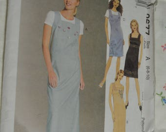 McCalls 2677 Misses Dress or Jumper in Two Lengths Sewing Pattern - UNCUT - Size 6 8 10