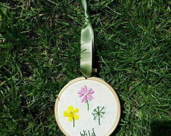 Wild Flowers Hoop Art | Hand Embroidered | Embroidered Text | Flower Embroidery | Gardening | Wall Art | Wall Hanging | Home Decor | Gift |