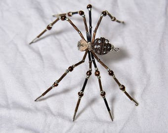 Copper and Black Beaded Spider