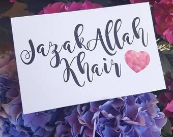 1 x Card - Jazak Allah Khair - BBHSWEET