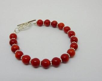 Red Bamboo Coral Bracelet, Bright Red Bracelet, Red Coral Bracelet