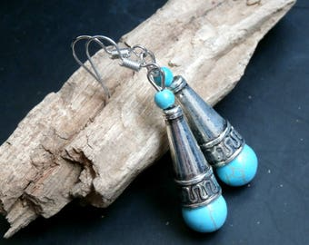 SALE-Tourquise Silver Teardrop Hook Earrings, Dangle Earrings, Silver tone Tourquise Jewelry, Gift for her