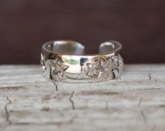 Star Toe Ring, Silver Toe Ring, Stars Band Ring, Adjustable Toe Ring, Simple Toe Ring, Sterling Silver Ring, Sterling Silver Jewellery