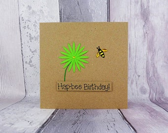 Bee birthday card, Bee Happy on your birthday, Handmade birthday card, Floral birthday card, Funny birthday card, Birthday card for her