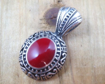 Vintage Red Jasper Necklace Pendant Sterling Silver