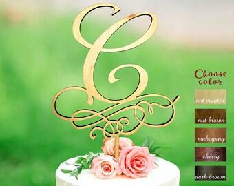 Letter c cake topper, wedding cake topper, rustic cake topper, natural wood cake topper, letter cake topper, monogram cake topper, CT#257