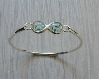 Infinity Ashes Bracelet, Sterling Silver Bangle With Ashes Encased