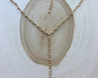 Gold Lariat Necklace With Druzy Pendant, Bohemian Jewelry, Valentine's Day Gift