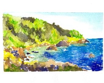 California Coast **Watercolor PRINT** Includes Beveled Mat - Watercolor Painting - Art Print - Big Sur Watercolor